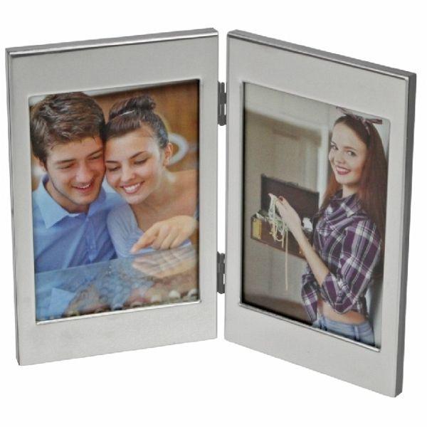 fotorahmen edelstahl rahmen gl nzend f r 2 fotos. Black Bedroom Furniture Sets. Home Design Ideas