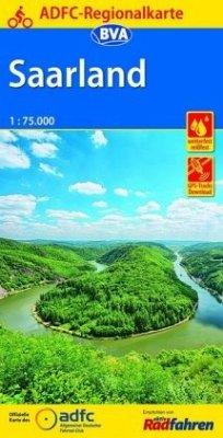 ADFC-Regionalkarte Saarland, 1:75.000, reiß- und wetterfest, GPS-Tracks Download