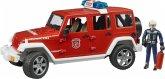 Bruder 02528 Jeep Wrangler Unlimited Rubicon Feuerwehrfahrzeug mit Feuerwehrma