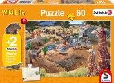 Schleich, An der Wasserstelle (Kinderpuzzle) + 2 Figuren