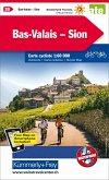 Kümmerly+Frey Karte Bas-Valais - Sion mit Ortsindex Velokarte