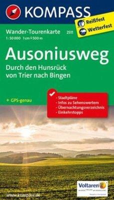 Kompass Wander-Tourenkarte Ausoniusweg - Durch den Hunsrück von Trier nach Bingen