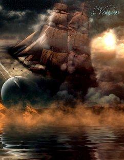 Fantasy Notizbuch: Wolkenschiff - weiße Seiten mit Eckmotiv - Sternenfeuer, Samuriel