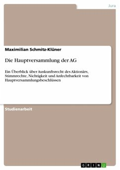 Die Hauptversammlung der AG (eBook, ePUB)