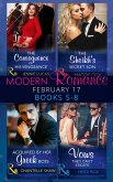 Modern Romance February Books 5-8: The Consequence of His Vengeance / The Sheikh's Secret Son (Secret Heirs of Billionaires, Book 6) / Acquired by Her Greek Boss / Vows They Can't Escape (eBook, ePUB)