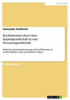 Rechtsformwechsel einer Kapitalgesellschaft in eine Personengesellschaft (eBook, PDF)