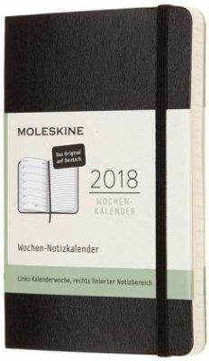 Moleskine 12 Monate Wochen Notizkalender 2018 Deutsch, P/A6, Soft Cover, Schwarz
