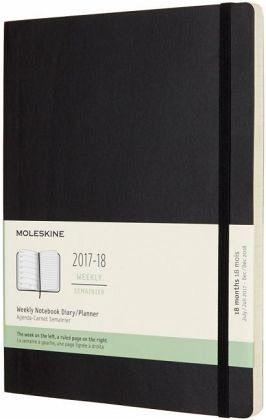 Moleskine 18 Monate Wochen Notizkalender 2017/2018, XL, Soft Cover, Schwarz