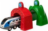BRIO 33834 - Smart Tech Zug mit Actiontunnels, Eisenbahn, Lok mit Batterie und Tunnel