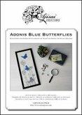 Adonis blue buterflies. Cross stitch and blackwork design