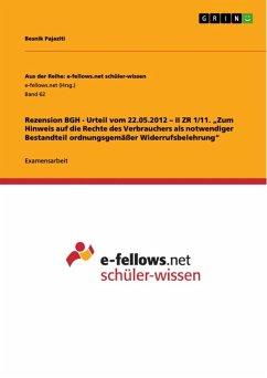 Rezension BGH - Urteil vom 22.05.2012 - II ZR 1/11.