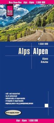 Reise Know-How Landkarte Alpen / Alps / Alpes(1:550.000)