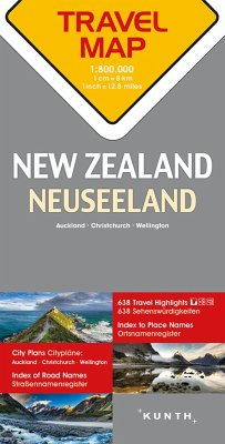Travelmap Reisekarte Neuseeland / New Zealand 1:800.000