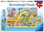 Ravensburger 078004 - Viel zu tun auf der Baustelle, 2x24 Teile, Kinderpuzzle