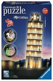 Ravensburger 125159 - Schiefer Turm von Pisa bei Nacht - 3D-Puzzle mit LED, 216 Teile