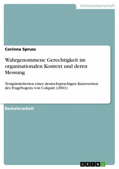 Wahrgenommene Gerechtigkeit im organisationalen Kontext und deren Messung (eBook, PDF)
