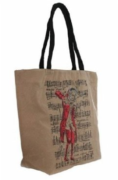 Tasche Shopper natur mit Mozart-Motiv