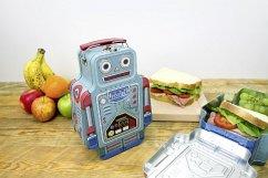 Brotzeitbox aus Blech - Robot Lunch Box