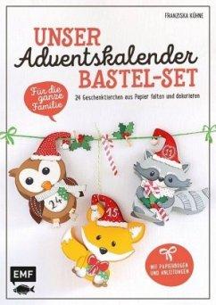 Unser Adventskalender Bastel-Set - Für die ganze Familie - Mit Papierbogen und Anleitungen - Kühne, Franziska