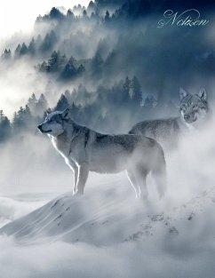 Fantasy Notizbuch: Wölfe im Nebel - weiße Seiten mit Eckmotiv - Sternenfeuer, Samuriel