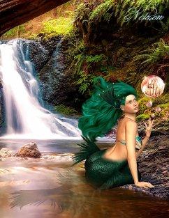 Fantasy Notizbuch: Tjirell, die Meerjungfrau - weiße Seiten mit Eckmotiv - Sternenfeuer, Samuriel