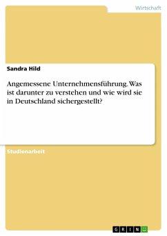 Angemessene Unternehmensführung. Was ist darunter zu verstehen und wie wird sie in Deutschland sichergestellt?