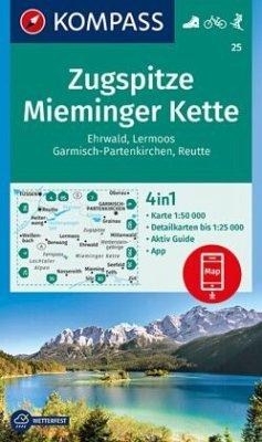 Kompass Karte Zugspitze, Mieminger Kette, Ehrwald, Lermoos, Garmisch-Partenkirchen, Reutte