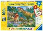 Ravensburger 13695 - Welt der Dinosaurier, Kinderpuzzle, XXL, 100 Teile, Ausmalen