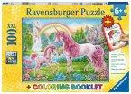 Ravensburger 13698 - Magische Einhörner, Kinderpuzzle, XXL, 100 Teile, Ausmalen