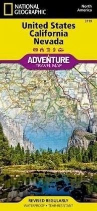 National Geographic Adventure Map United States, Calfornia and Nevada