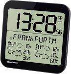 Bresser MyTime Meteotime LCD Wetter-Wanduhr schwarz
