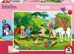 Schmidt 56264 - Puzzle, Kinderpuzzle, Bibi Blocksberg, Bibi und Tina am Lagerfeuer, 100 Teile, inclusive Sportbeutel
