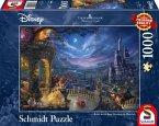 Schmidt 59484 - Puzzle, Thomas Kinkade, Disney, Die Schöne und das Biest, Tanz im Mondlicht, 1000 Teile
