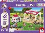 Schmidt 56240 - Schleich, Reitschule und Tierärztin, Kinderpuzzle, 150-Teile, mit 2 Originalfiguren