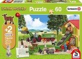 Schmidt 56241 - Schleich, Heueinfahrt Auf dem Bauernhof, Kinderpuzzle, 60 Teile, mit 2 Originalfiguren