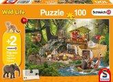 Schmidt 56238 - Schleich, Forschungsstation Croco, Kinderpuzzle, 100-Teile, mit 2 Originalfiguren