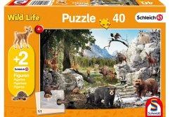 Schmidt 56239 - Schleich, die Tiere des Waldes, Kinderpuzzle, 40-Teile, mit 2