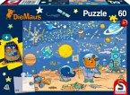 Schmidt 56265 - Puzzle, Die Maus und Elefant auf dem Mond , Kinderpuzzle, 60 Teile, inclusive Sportbeutel
