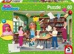 Schmidt 56263 - Puzzle, Bibi Blocksberg in der Bücherei, Kinderpuzzle, 60 Teile, inclusive Sportbeutel