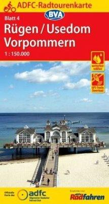 ADFC-Radtourenkarte 4 Rügen/Usedom Vorpommern 1:150.000, reiß- und wetterfest, GPS-Tracks Download