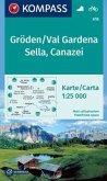 KOMPASS Wanderkarte Gröden, Val Gardena, Sella, Canazei