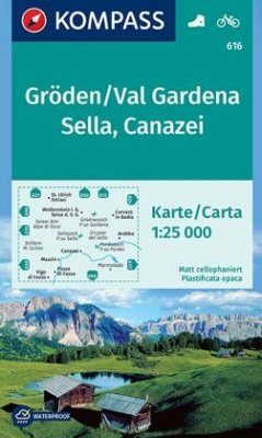 Kompass Karte Gröden, Val Gardena, Sella, Canazei