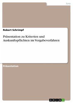 Präsentation zu Kriterien und Auskunftspflichten im Vergabeverfahren (eBook, PDF)