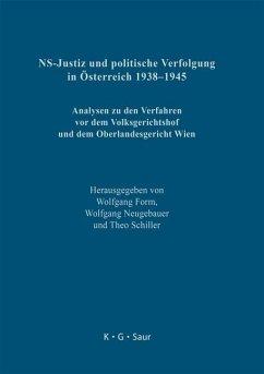 NS-Justiz und politische Verfolgung in Österreich 1938-1945 (eBook, PDF)