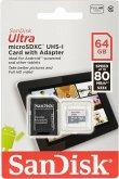 SanDisk Ultra microSDXC UHS 64GB 80MB/s+Adapt. SDSQUNS-064G-GN6TA