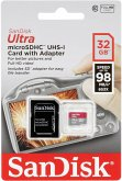 SanDisk Ultra microSDHC 32GB 98MB/s Adapt. SDSQUAR-032G-GN6IA
