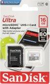 SanDisk Ultra microSDHC 16GB 80MB/s+Adapt. SDSQUNS-016G-GN3MA