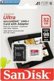SanDisk Ultra microSDHC A1 32GB 98MB/s Adapt. SDSQUAR-032G-GN6TA