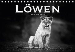 Löwen schwarz weiß (Tischkalender 2018 DIN A5 quer)