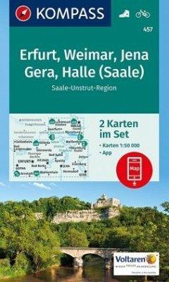 Kompass Karte Erfurt, Weimar, Jena, Gera, Halle...